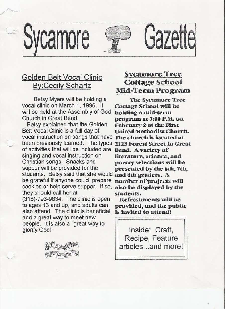 Great Bend, Kansas announcement: 1996